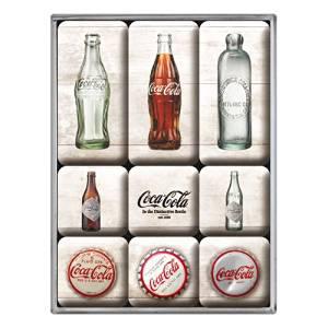 """Kühlschrank Magnet-Set 9-tlg """"Coca-Cola Timeline"""""""