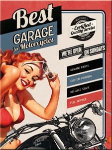 """Kühlschrank Magnet 6 x 8 cm """"Best Garage Sexy Pin Up Girl Motorrad"""""""