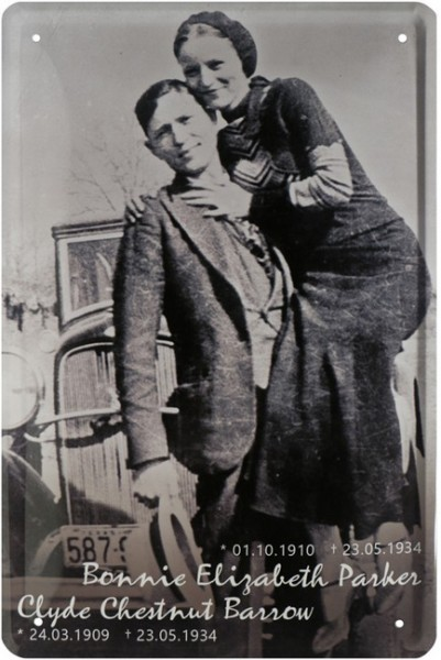 "Blechschild "" Bonnie & Clyde - The legendary gangster duo """