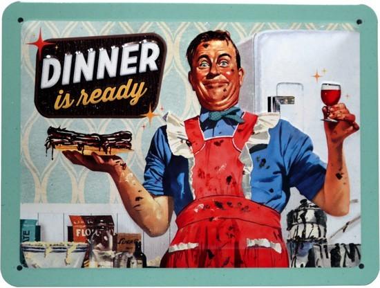 """Blechschild geprägt 15 x 20 cm """"Dinner is ready"""""""