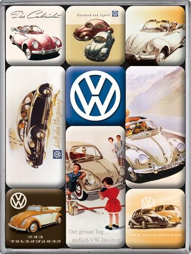 "Kühlschrank Magnet-Set 9-tlg ""VW Käfer Volkswagen Kult Auto Car"""