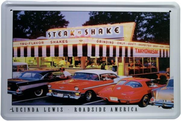"Blechschild ""Steak n Shake - Lucinda Lewis - Roadside America USA"""