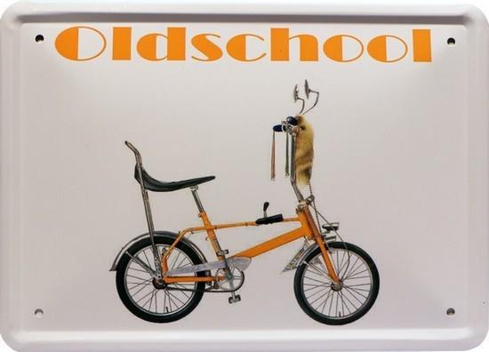 "Blechschild 15 x 21 cm "" Oldschool Fahrrad """