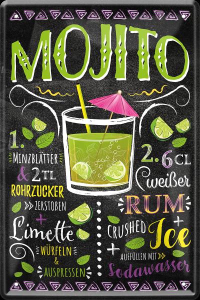 "Blechschild "" Mojito Rum Cocktail """