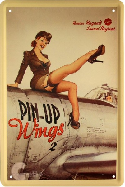 "Blechschild "" Sexy PinUp Girl Wings """