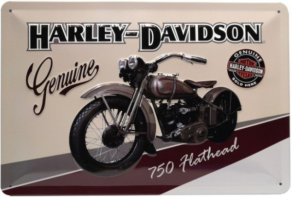"""Blechschild geprägt """"Harley Davidson Genuine Motorrad Bike"""""""