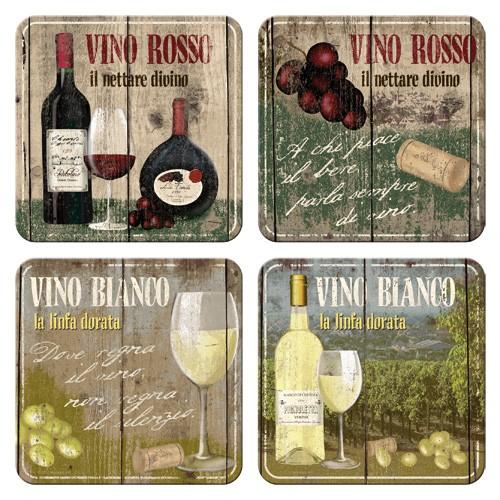 """Untersetzer-Set 4-tlg """"Vino Rosso Bianco Rot Wein"""""""