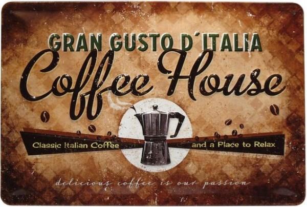 """Blechschild geprägt """"Coffee House Gran Gusto Kaffee"""""""