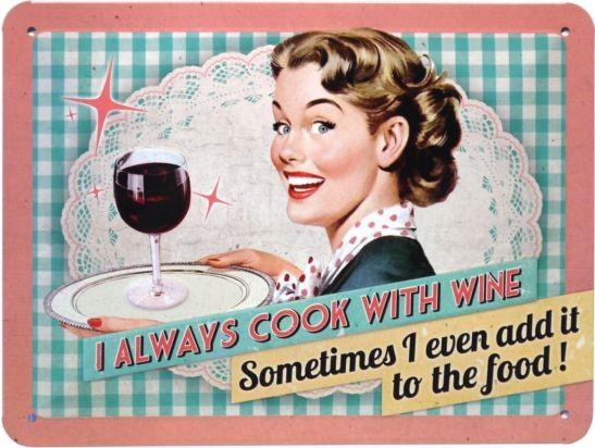 """Blechschild geprägt 15 x 20 cm """"Cook with wine"""""""