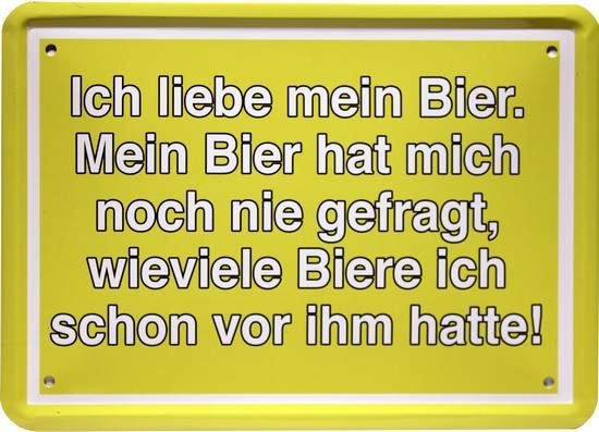 """Blechschild 15 x 21 cm """" Ich liebe mein Bier..."""""""