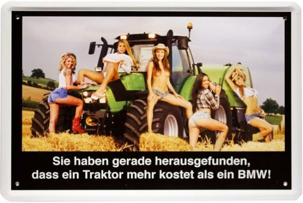 """Blechschild """" Sexy PinUp Girls mit Traktor """""""