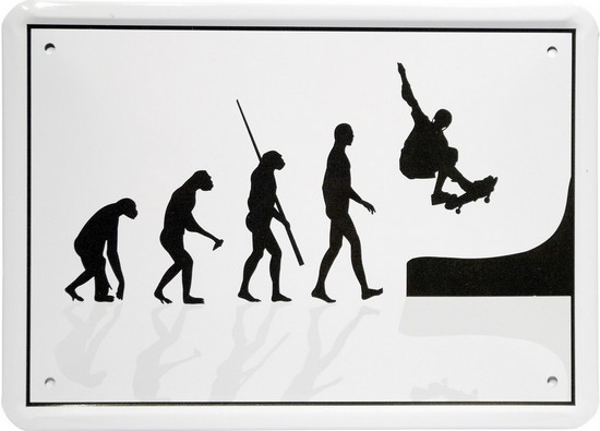 "Blechschild 15 x 21 cm ""Evolution Skateboader"""
