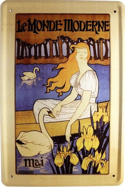 """Blechschild """" Le monde Moderne Mai Kunst """""""