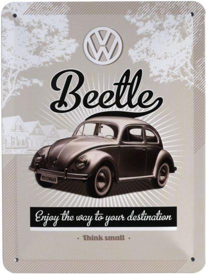 """Blechschild geprägt 15 x 20 cm """"VW Beetle Käfer"""""""