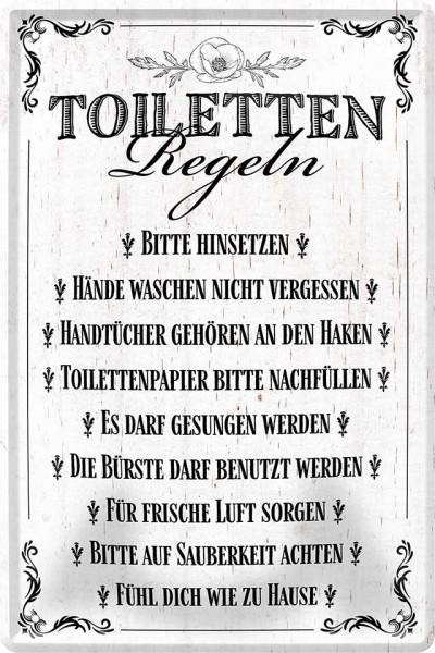 """Blechschild """"WC-Regeln"""""""