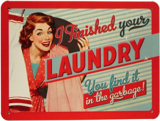 "Blechschild geprägt 15 x 20 cm ""I Finished Your Laundry"""