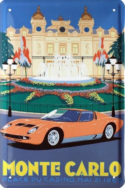 "Blechschild "" Monte Carlo Place Du Casino 1966 Sportwagen """
