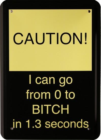 """Blechschild 15 x 21 cm """" Caution """""""