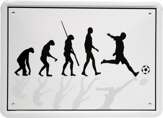 """Blechschild 15 x 21 cm """"Evolution Fußballer"""""""