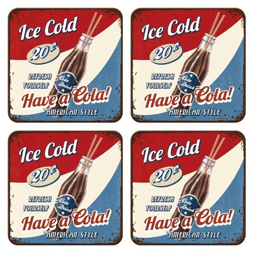 """Untersetzer-Set 4-tlg """"American Cola ice cold"""""""