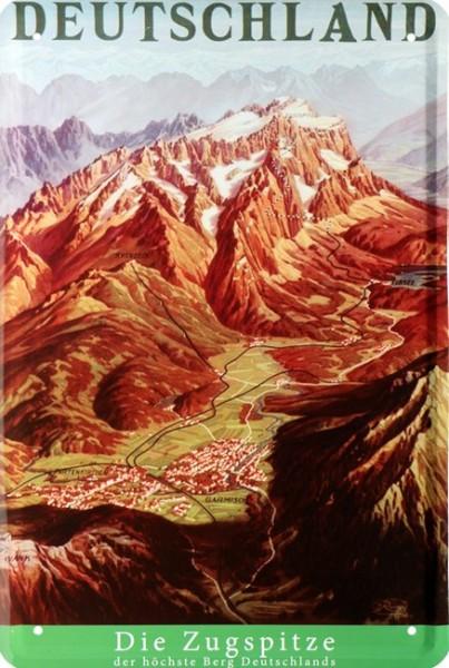 """Blechschild """" Deutschland Zugspitze Alpen Urlaub Reklame """""""