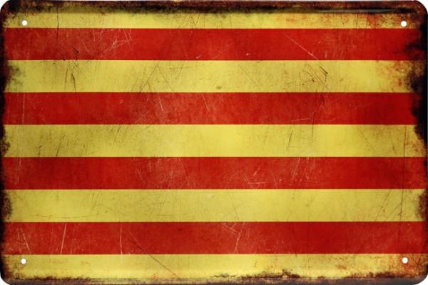 """Blechschild Länder Flagge """" Catalonien """""""