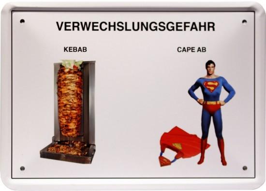 """Blechschild 15 x 21 cm """" Verwechslungsgefahr - Kebap """""""