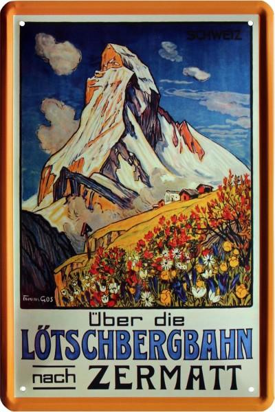 """Blechschild """" Lötschbergbahn Zermatt """""""