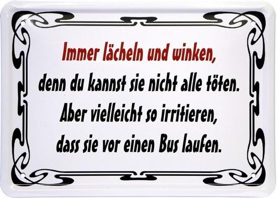 """Blechschild 15 x 21 cm """"Immer lächeln und winken..."""""""