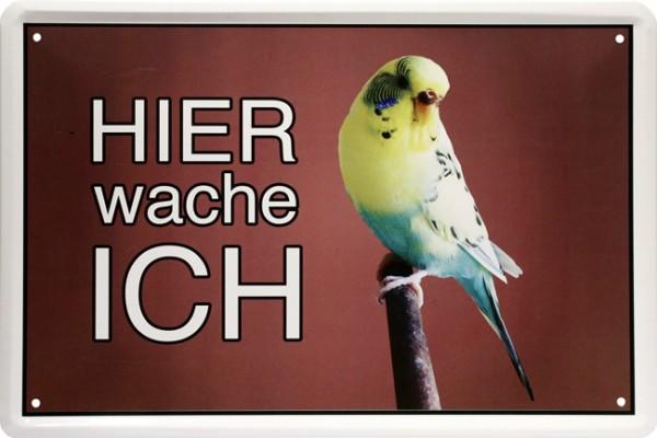 """Blechschild """" Hier wache ich - Vogel Wellensittig """""""