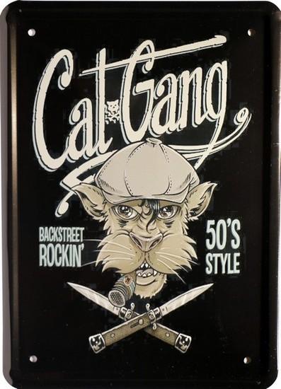 """Blechschild 15 x 21 cm """" Cat Gang Katzen """""""