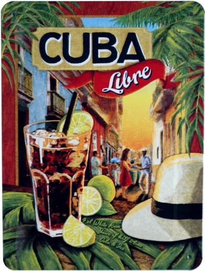 "Blechschild geprägt 15 x 20 cm ""Cuba Libre Long Drink Cocktail """