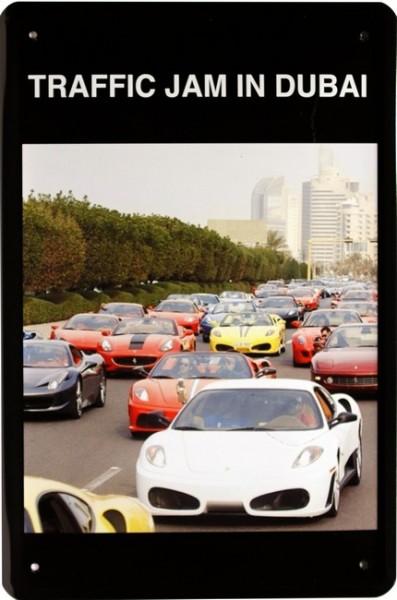 """Blechschild """" Traffic Jam in Dubai """""""