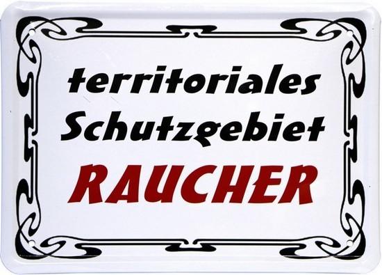 "Blechschild 15 x 21 cm ""Territoriales Schutzgebiet Raucher"""