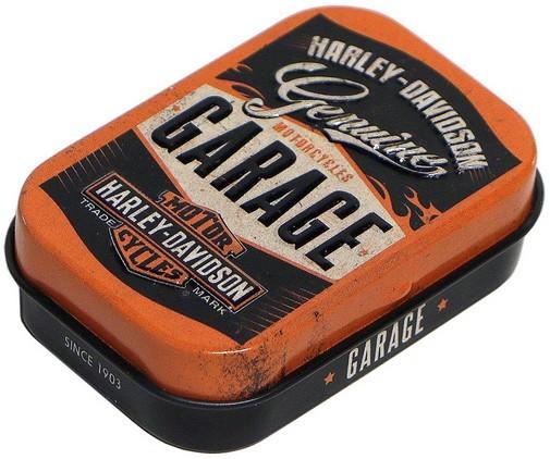 """Pillendose gefüllt mit Pfefferminzdragee """" Harley-Davidson Garage """" Nostalgie Reklame Retr"""