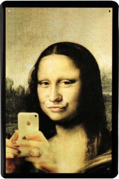 """Blechschild """"Mona Lisa mit Smartphone"""""""