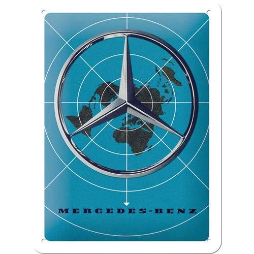 """Blechschild geprägt 15 x 20 cm """"Mercedes-Benz - Blue Map"""""""