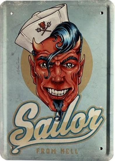 """Blechschild 15 x 21 cm """" Sailor from Hell """""""