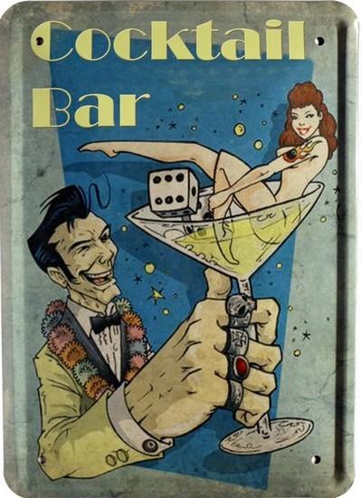 """Blechschild 15 x 21 cm """" Cocktail Bar """""""