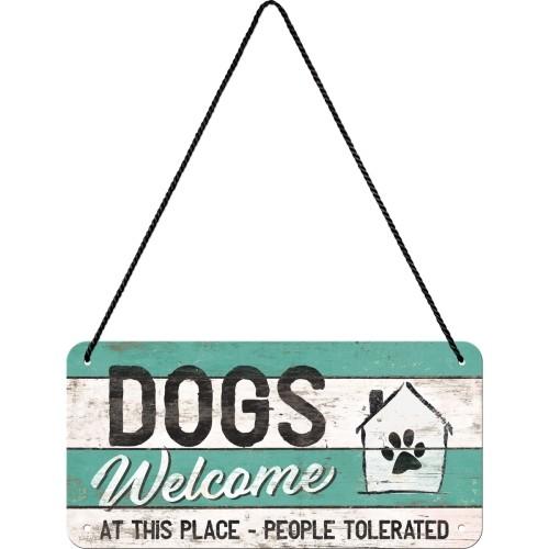 "Türhängeschild geprägt 10 x 20 cm "" Dogs Welcome """