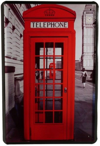 "Blechschild ""Rote Telefonzelle London Big Ben"""