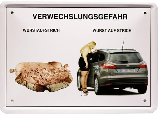 """Blechschild 15 x 21 cm """" Verwechselungsgefahr-Wurstaufstrich """""""