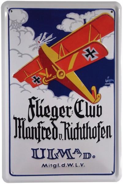 """Blechschild """"Flieger Club Manfred v.Richthofen Flugzeug"""""""
