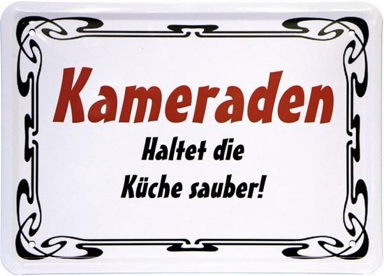 """Blechschild 15 x 21 cm """"Kameraden haltet die Küche sauber"""""""
