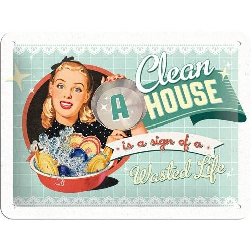 """Blechschild geprägt 15 x 20 cm """"Clean a house"""""""