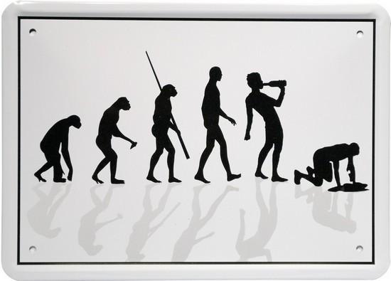 """Blechschild 15 x 21 cm """"Evolution Alkoholiker"""""""