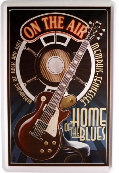 """Blechschild """" Musik Gitarre Home of the Blues """""""