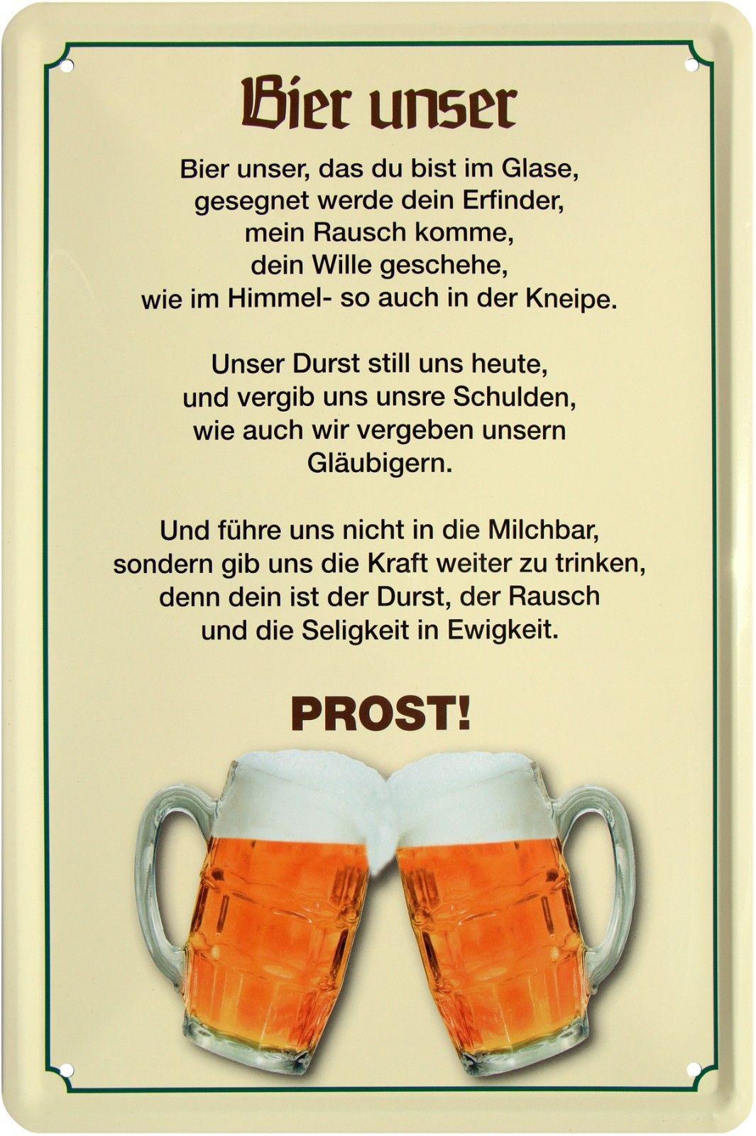 Blechschild 20x30 Bier hat wenig Vitamine viel trinken fun Spruch Bar Kneipe