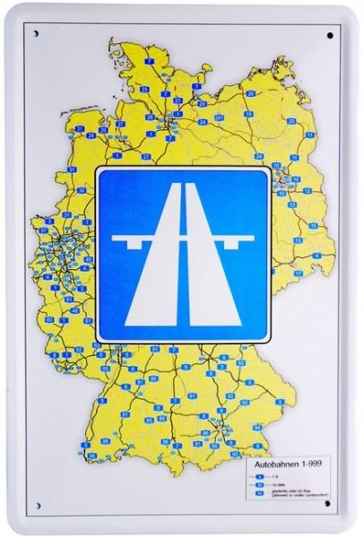"""Blechschild """"Deutsche Autobahnen German Highways"""""""
