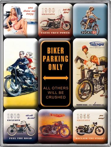 """Kühlschrank Magnet-Set 9-tlg """"Biker Parking Only Motorrad"""""""